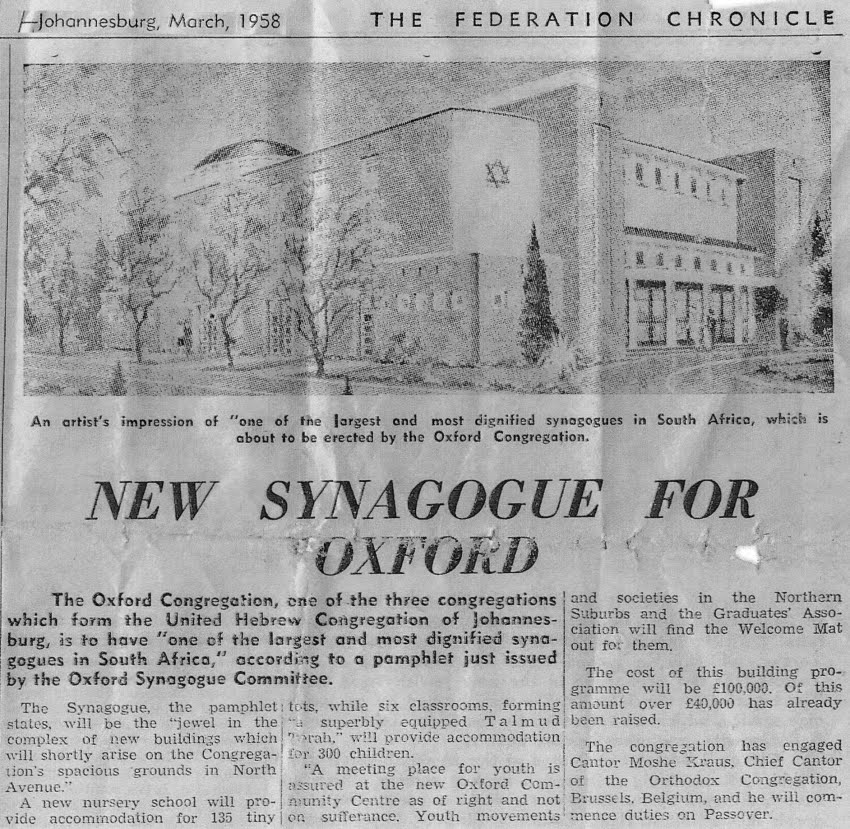 Newspaper article about the new Shul